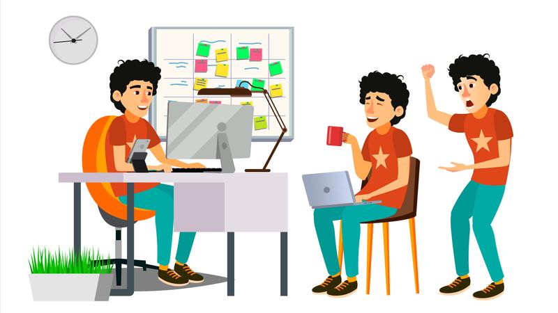 Junior Programmer Working On Desk In Office Illustration