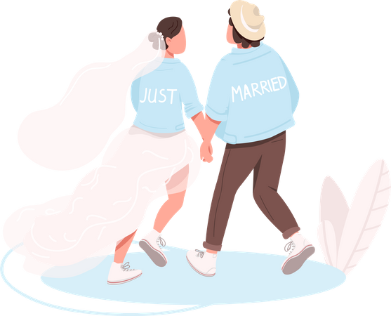 Just married couple Illustration