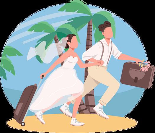 Just married couple honeymoon Illustration