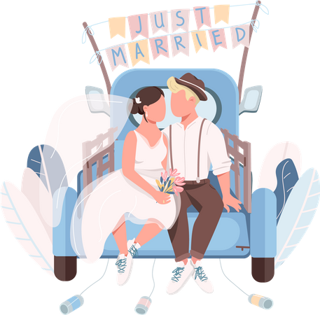 Just married couple in car Illustration