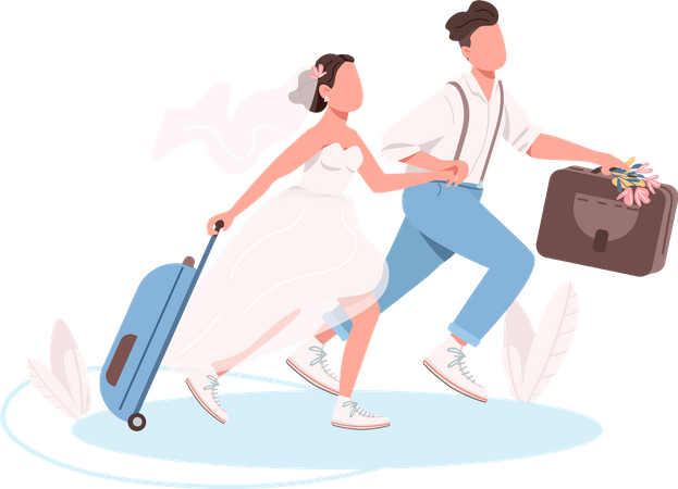 Just married couple with suitcases Illustration