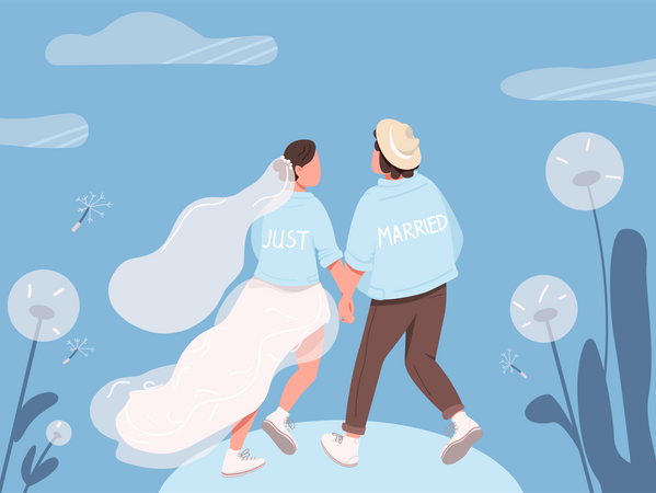 Just married happy couple Illustration