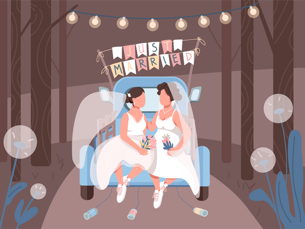 Just married lesbian couple in car Illustration