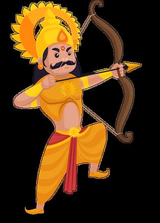 Karna aiming arrow Illustration