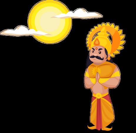 Karna doing worship of Lord sun Illustration