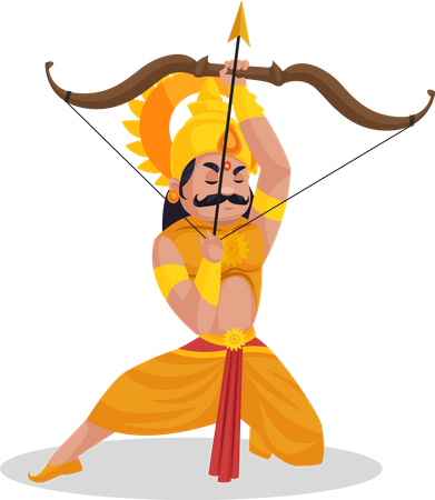 Karna praying to god before fight Illustration