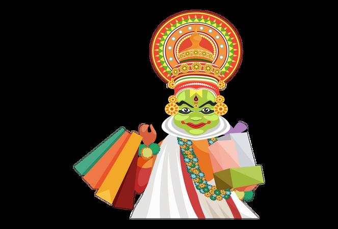 Kathakali dancer holding shopping bags and gifts Illustration