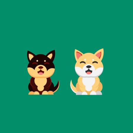 Kawaii dog of shiba inu breed Cartoon style Illustration