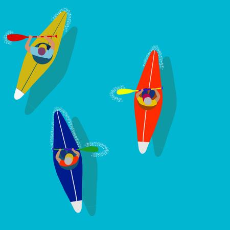 Kayaking Water Sport Illustration