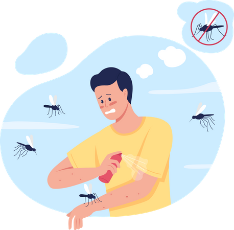 Keeping mosquitoes away while summer camping Illustration