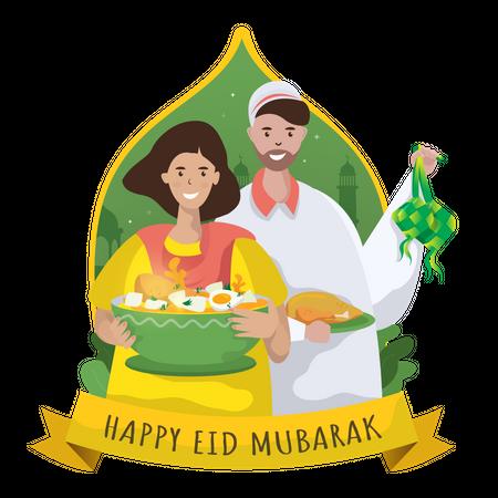 Ketupat feast for Eid Mubarak Illustration