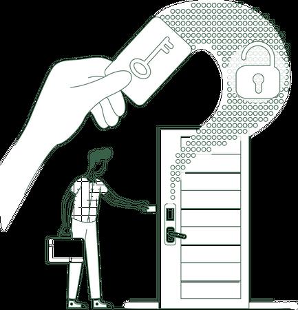 Keycard scan system Illustration