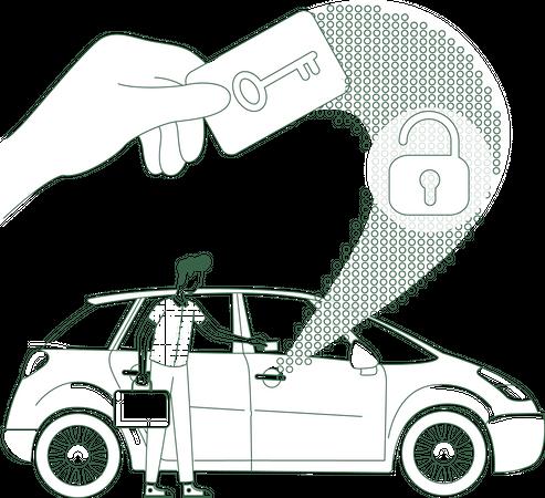 Keyless car lock system Illustration