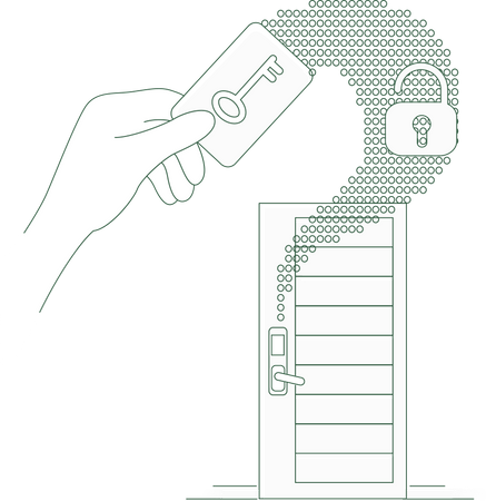 Keyless lock security in home using NFC Illustration