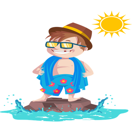 Cool kid standing over water rock in summer time and wearing goggles and hat Illustration