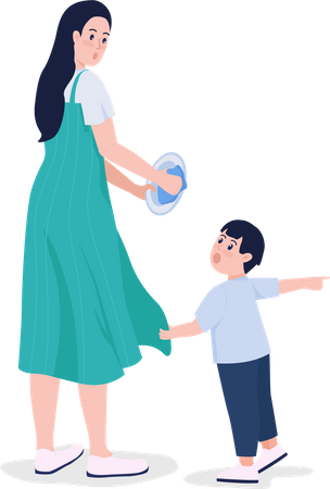 Kid demanding with mother Illustration