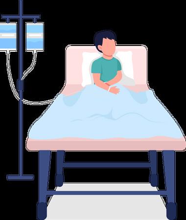 Kid in hospital bed Illustration