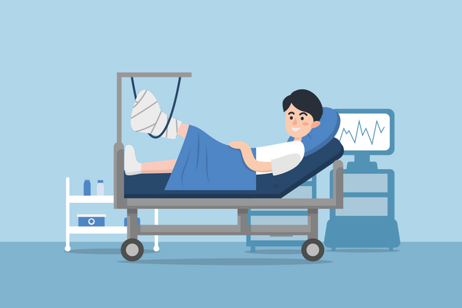 Kid laying down on hospital bed with fractured leg Illustration