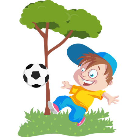 Kid playing football in park Illustration