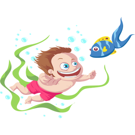 Kid playing with fish Illustration