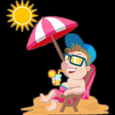 Kid relaxing on beach Illustration