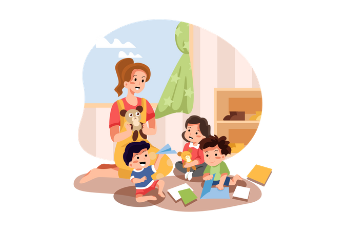 Kids and player playing in playschool Illustration