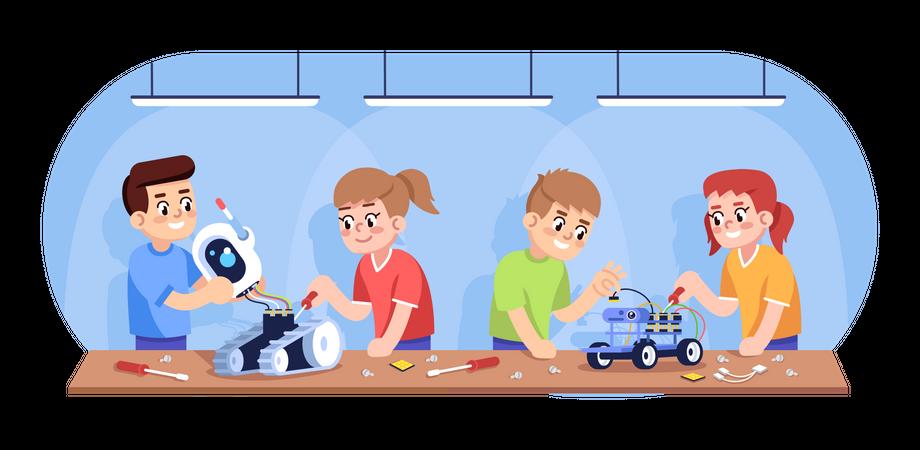 Kids assembling robots Illustration