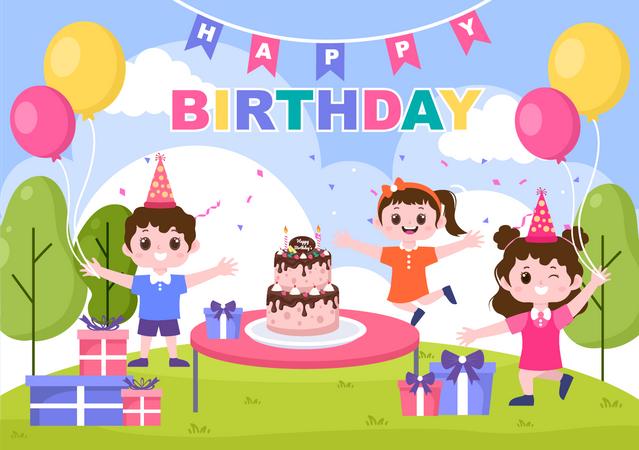 Kids Celebrating birthday Illustration