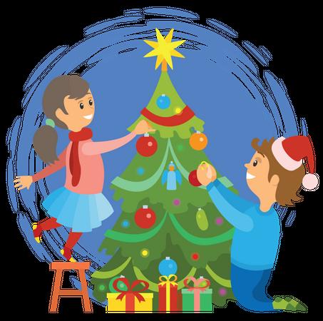 Kids decorating christmas tree Illustration