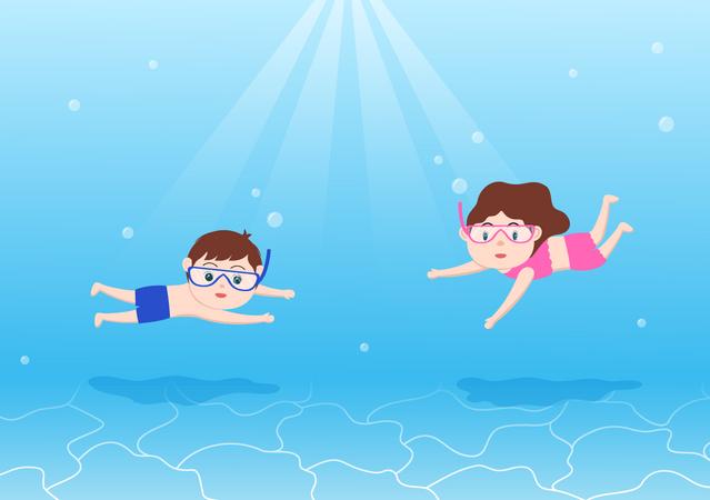 Kids diving underwater Illustration