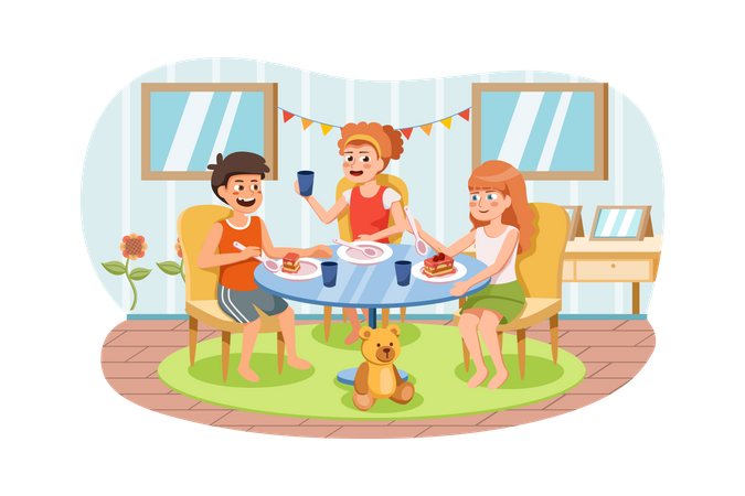 Kids eating meal in preschool Illustration
