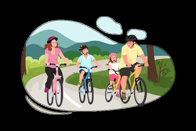 Kids Enjoying Bicycle Riding Illustration