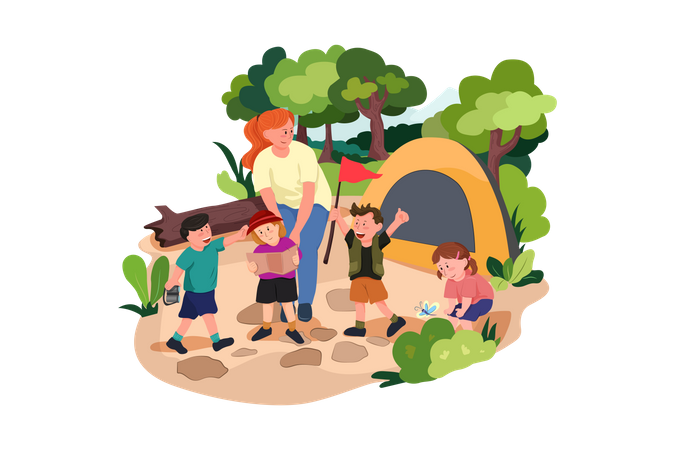 Kids enjoying camping on school trip Illustration