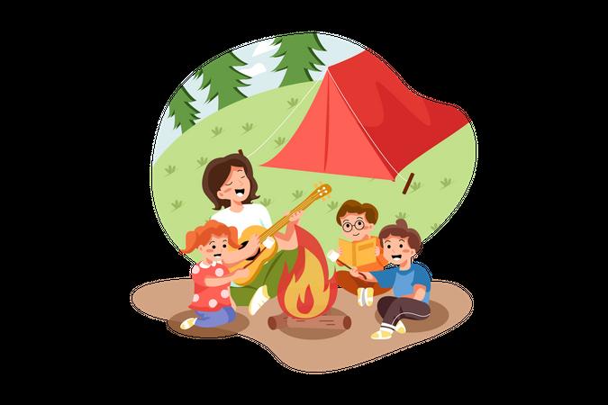 Kids enjoying picnic Illustration