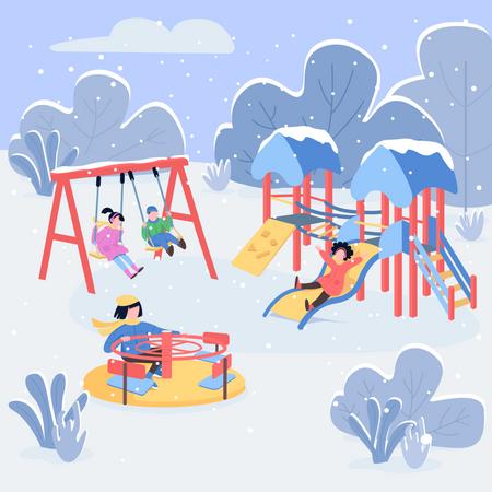 Kids enjoying rides in park Illustration