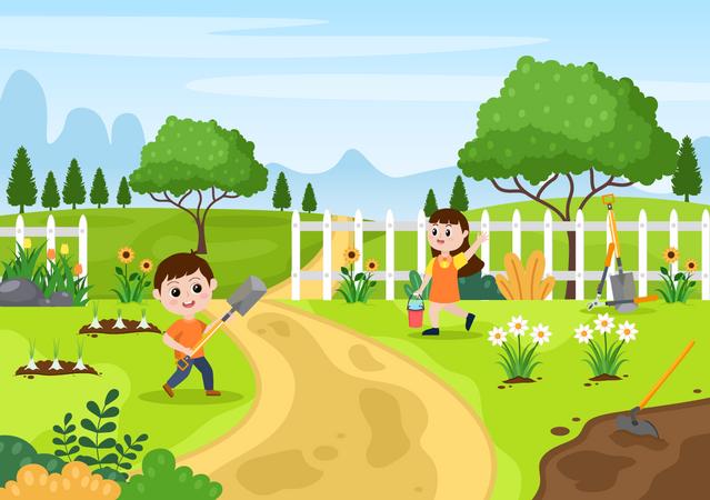 Kids farming Illustration
