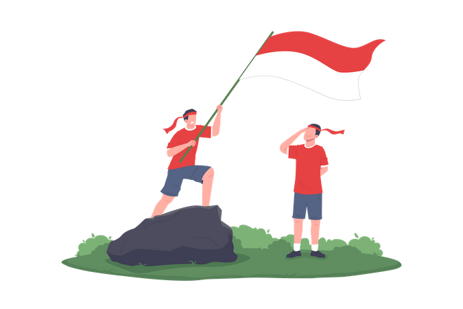 Kids Give Salute to Indonesia's Flag Illustration