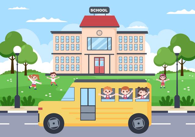 Kids going to school Illustration