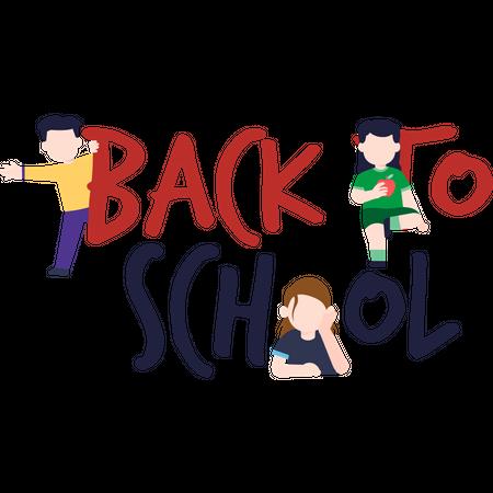 Kids happy to go back to school Illustration