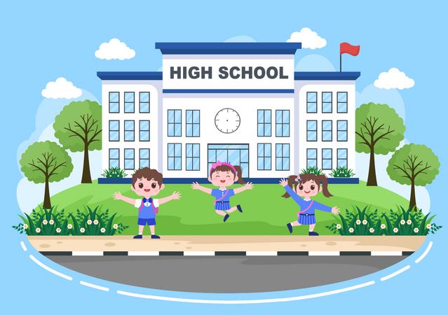 Kids in high school Illustration