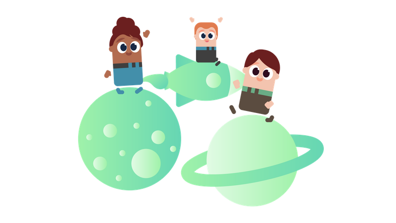 Kids learning science in primary school Illustration