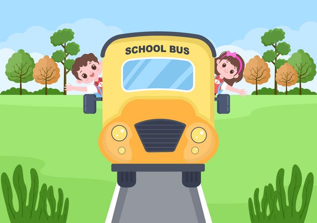 Kids on school bus Illustration