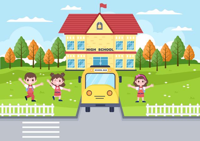 Kids on school garden Illustration