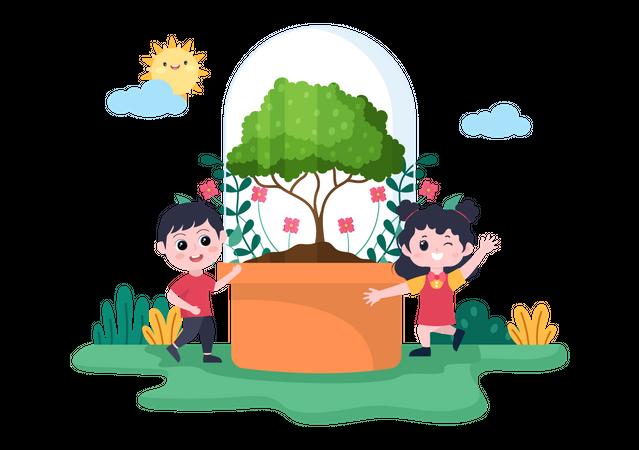 Kids Planting Tree Illustration