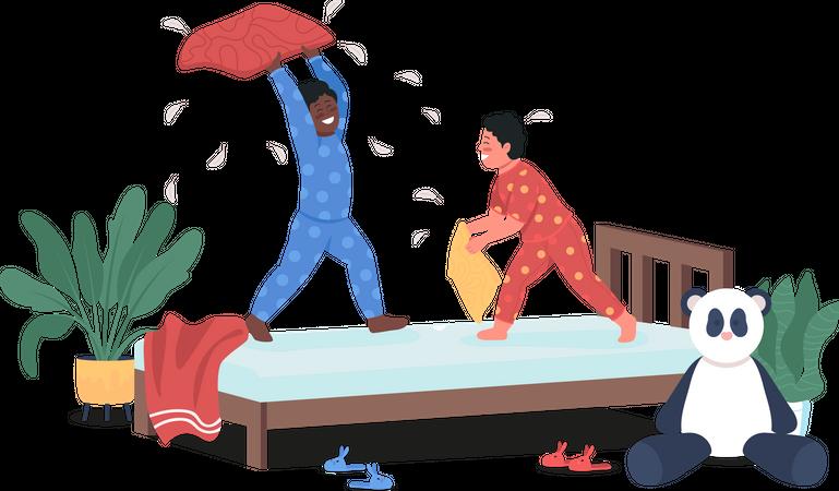 Kids play in bedroom Illustration