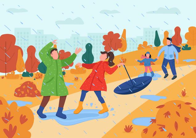 Kids play in rain Illustration