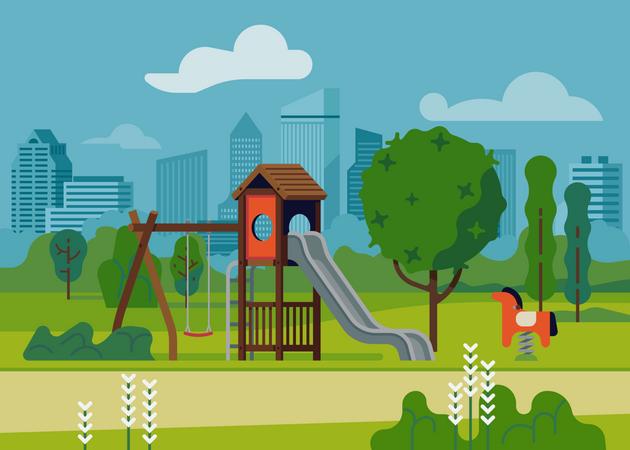 Kids playground in city park Illustration
