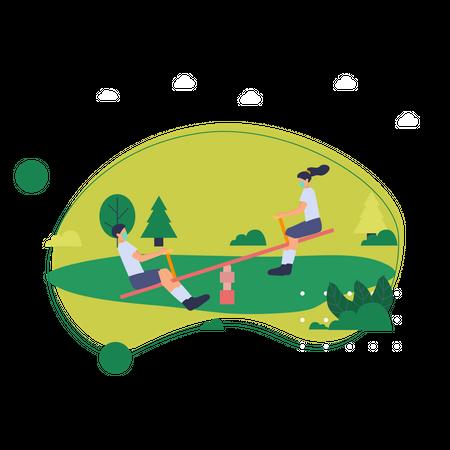 Kids playing in garden Illustration