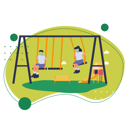 Kids playing in park Illustration
