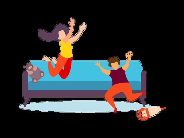 Kids Playing on living room Illustration